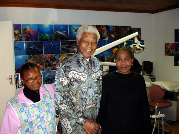 Staff members with Madiba - 2010